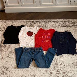 BUNDLE - 4 Girls Shirts & 1 Jeans Size L 10/12